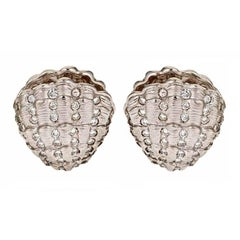 Diamond Platinum Clam Shell Earrings by John Landrum Bryant