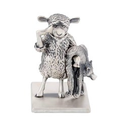 Small Antique Silver-Plated Bronze The Year Of The Sheep by John Landrum Bryant