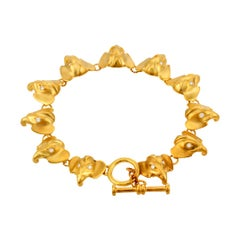 White Diamond Eyes 18k miniature Elephant Head Bracelet by John Landrum Bryant
