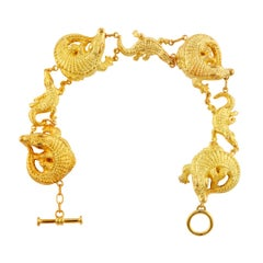 Diamond Eyes 18kt Gold Large and Small Alligator Bracelet by John Landrum Bryant