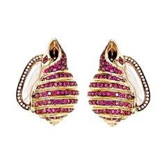 Diamond Mother of Pearl Moonlight Whelk Shell Earrings by John Landrum Bryant