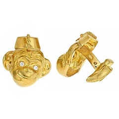 Diamond Eyes 18 Karat Gold Small Monkey in Hat Cufflinks, John Landrum Bryant