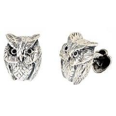 Onyx Eyes Sterling Silver Owl Cufflinks by John Landrum Bryant