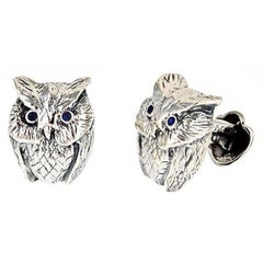 Blue Sapphire Eyes Sterling Silver Owl Cufflinks by John Landrum Bryant