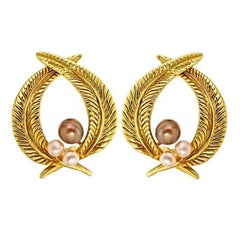 Brown and White Pearl 18 Karat Gold Palm Leaf Earrings by John Landrum Bryant