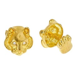 Diamond Eyes 18 Karat Yellow Gold Tiger Head Cufflinks by John Landrum Bryant