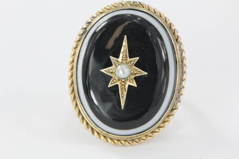 Antique Victorian And Gold Banded Agate Starburst Pearl