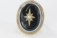 Antique Victorian & Gold Banded Agate Starburst Pearl Conversion Ring