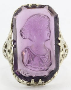 Antique Victorian 14K White Gold Purple Amethyst Glass Cameo Ring
