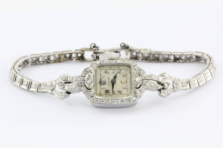 Well known Antique 14K White Gold and Diamond 17 Jewel Hamilton Watch at 1stdibs TN55