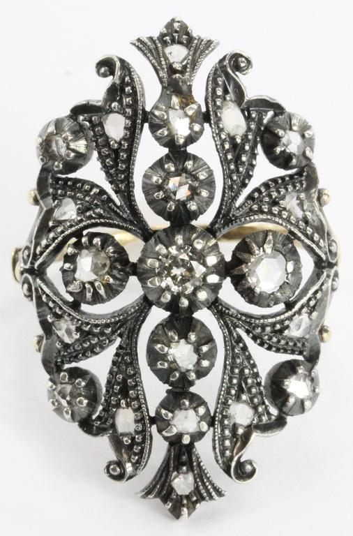 Antique 1800 S Portuguese 19k Gold And Rose Cut Diamond