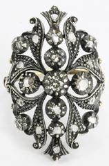 Antique 1800's Portuguese 19K Gold & Rose Cut Diamond Ring Signed 1/2 CTW