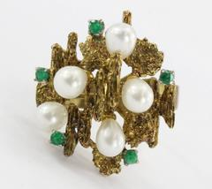 Vintage 18K Gold Chunky Emerald & Pearl Modernist Cocktail Ring