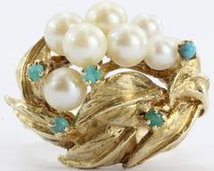 14K Gold Mid-Century Hollywood Regency Pearl & Turquoise Grape Cluster Ring