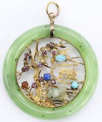 Vintage 18K Gold Chinese Amulet / Pendant w/ Jade, Ruby, Opal, Turquoise etc