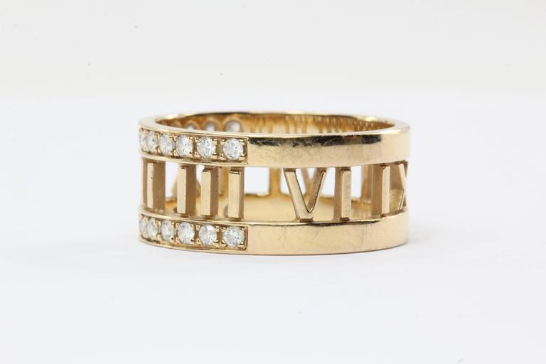 Tiffany And Co Atlas Open Diamonds Gold Ring At 1stdibs