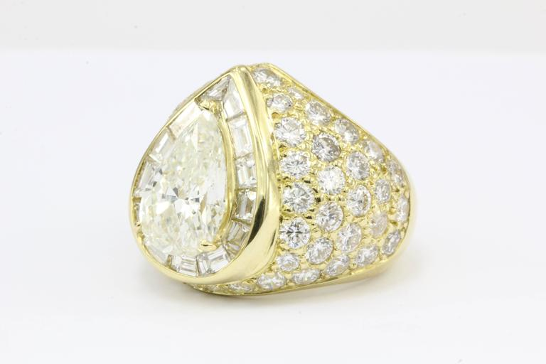 3 51 Carat GIA Certified Pear Shaped Diamond Gold Ring For Sale at 1stdibs