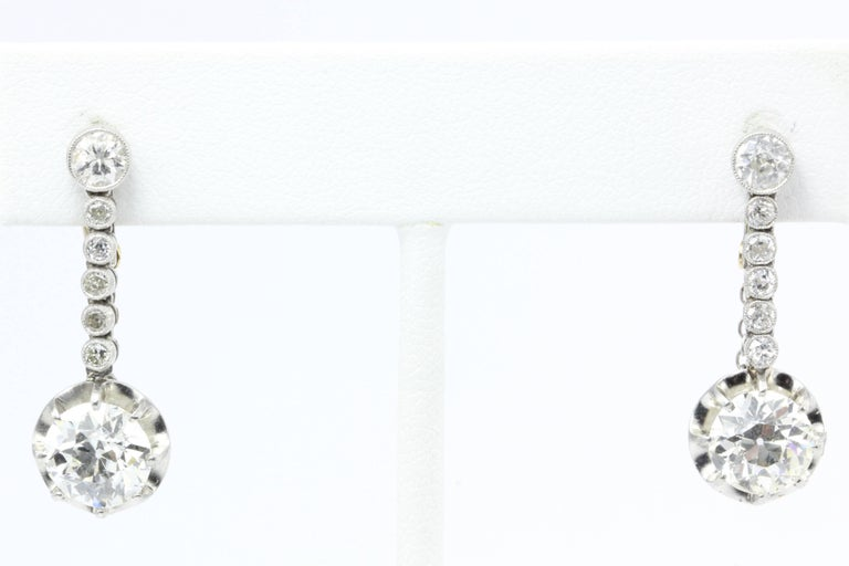 Edwardian 4.58 Carat Drop Diamond Earrings 2