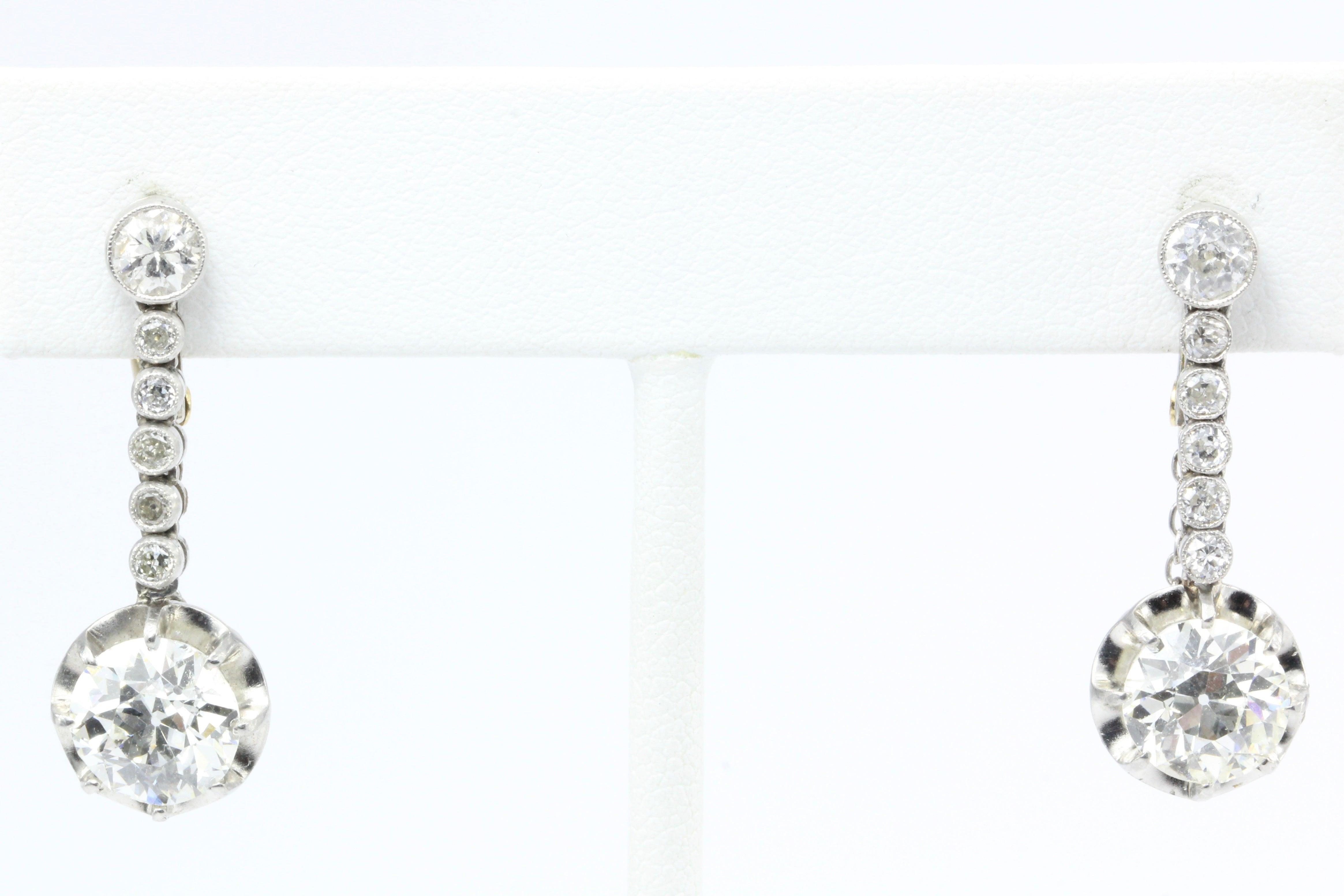 Edwardian 4 58 Carat Drop Diamond Earrings at 1stdibs