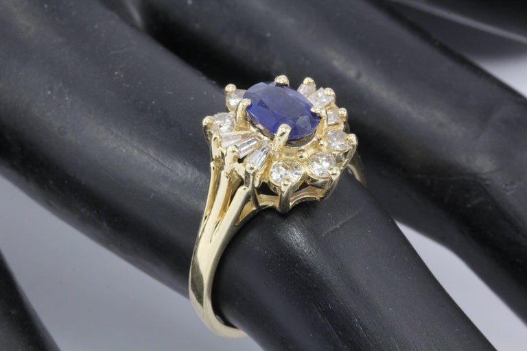 14 Karat Yellow Gold .80 Carat Natural Sapphire and Diamond Halo Ring For Sale 2