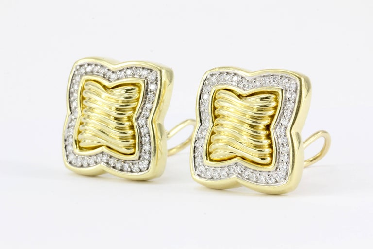 David Yurman 18 Karat Yellow Gold and Diamond Quatrefoil Earrings In Excellent Condition For Sale In Cape May, NJ