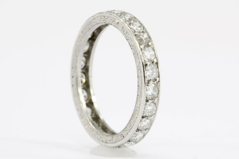 Era: Art Deco c.1920's  Composition: Platinum  Primary Stone: Diamond   Color: H-J  Clarity: VS1 - Si2  Cut: Old European Cut  Stone Carat: .8 CTW  Ring Size: 4.75  Ring Weight: 2.73 grams  Ring Condition: Excellent estate condition, ready to