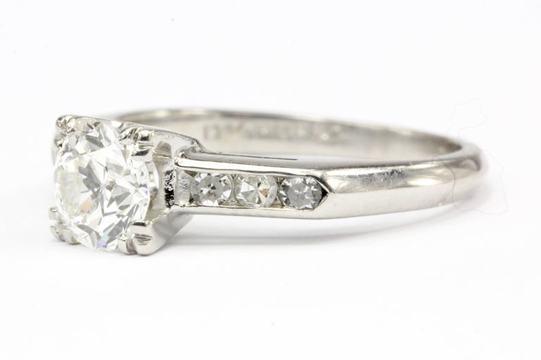 Art Deco Platinum Old European Cut Diamond Engagement Ring In Excellent Condition For Sale In Cape May, NJ
