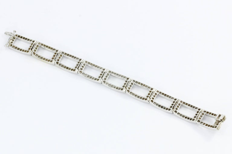 White Gold Diamond Rectangular Link Tennis Bracelet 8 Carat In Excellent Condition For Sale In Cape May, NJ