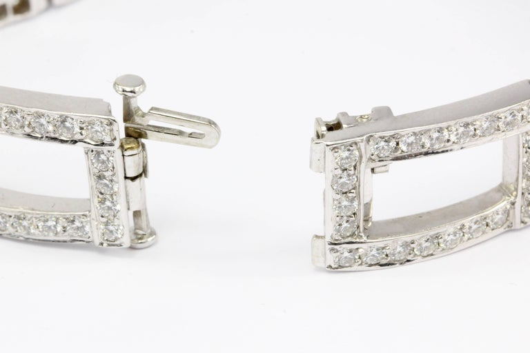 White Gold Diamond Rectangular Link Tennis Bracelet 8 Carat For Sale 1