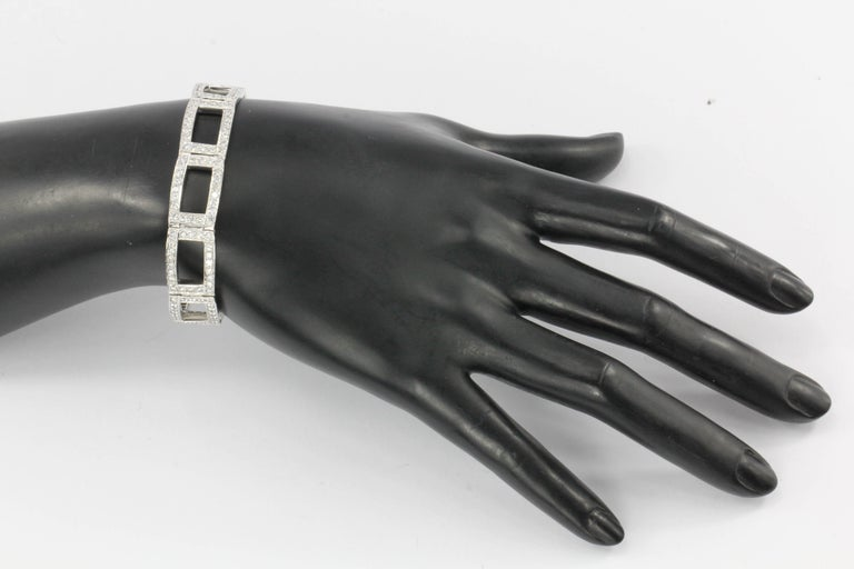 White Gold Diamond Rectangular Link Tennis Bracelet 8 Carat For Sale 2