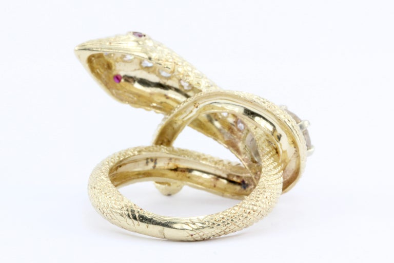 Retro Yellow Gold Champagne Diamond and Ruby Coiled Snake Ring, circa 1950s In Excellent Condition For Sale In Cape May, NJ
