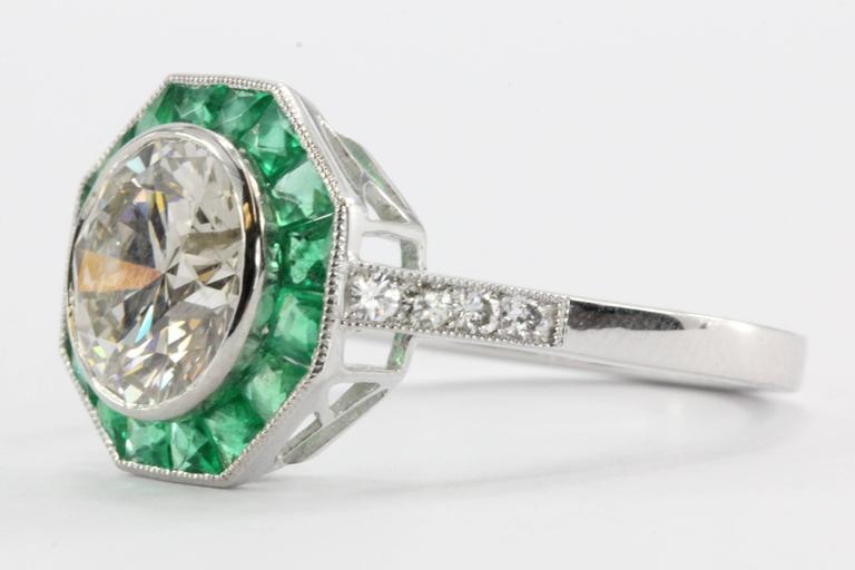 Art Deco Style 2.1 Carat Diamond Emerald Platinum Sophia D Engagement Ring