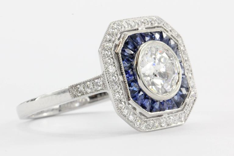 Art Deco  1.02 Carat GIA Cert Old European Diamond Sapphire Platinum Ring For Sale