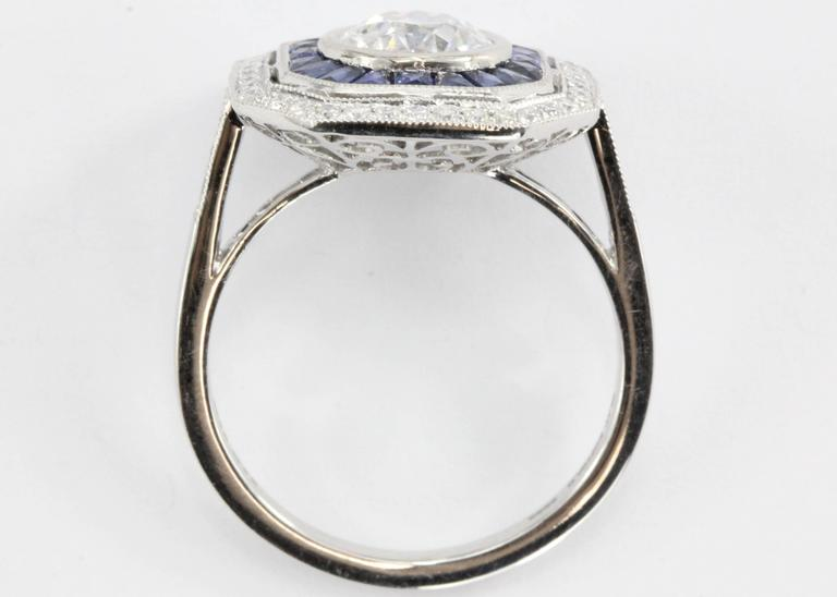Women's  1.02 Carat GIA Cert Old European Diamond Sapphire Platinum Ring For Sale