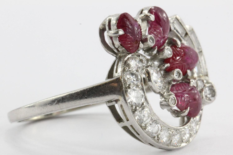 unique deco tutti frutti style carved ruby