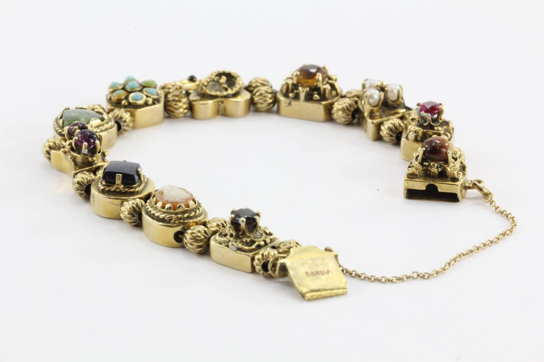 Antique Victorian Figural Charm Slide Bracelet For Sale At