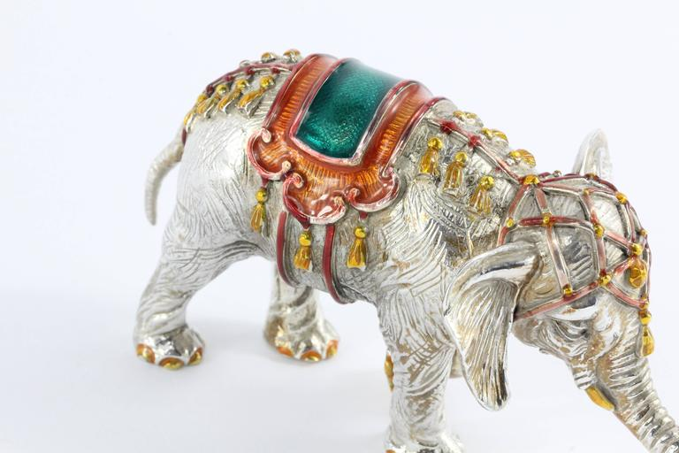 Tiffany & Co. Gene Moore Sterling Silver Enamel Circus Elephant, circa 1990 In Excellent Condition For Sale In Cape May, NJ