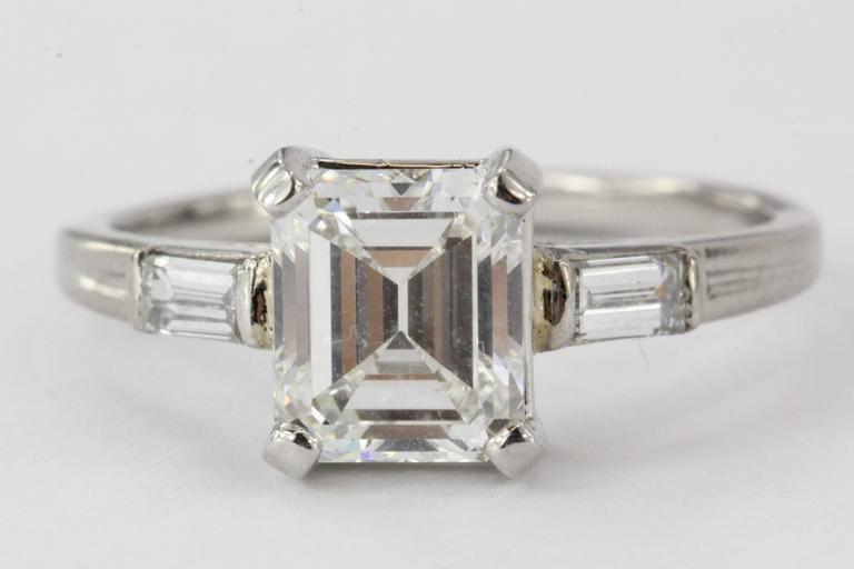 Tiffany & Co. Emerald Cut GIA Certified Diamond Palladium Ring 4