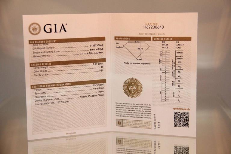 Tiffany & Co. Emerald Cut GIA Certified Diamond Palladium Ring 7