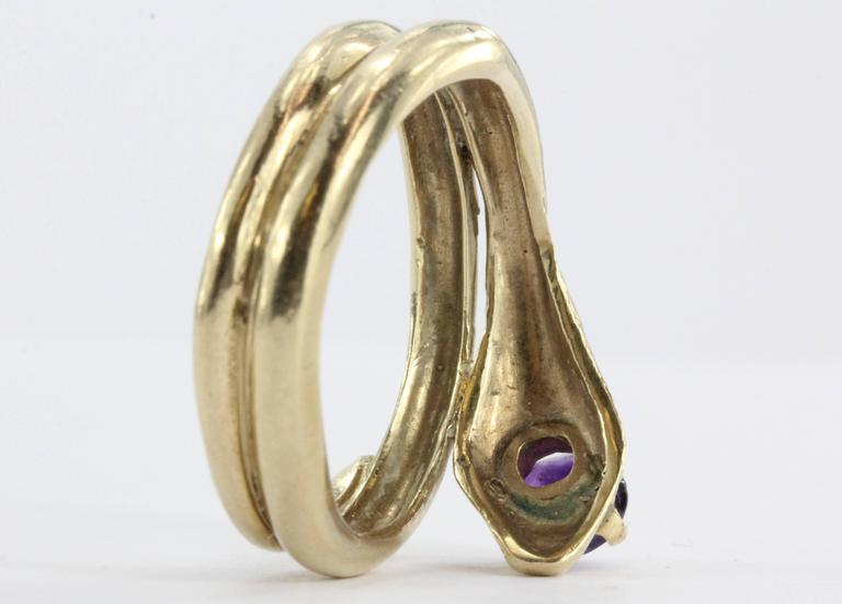 Amethyst Gold Figural Gothic Curled Coiled Snake Ring 5