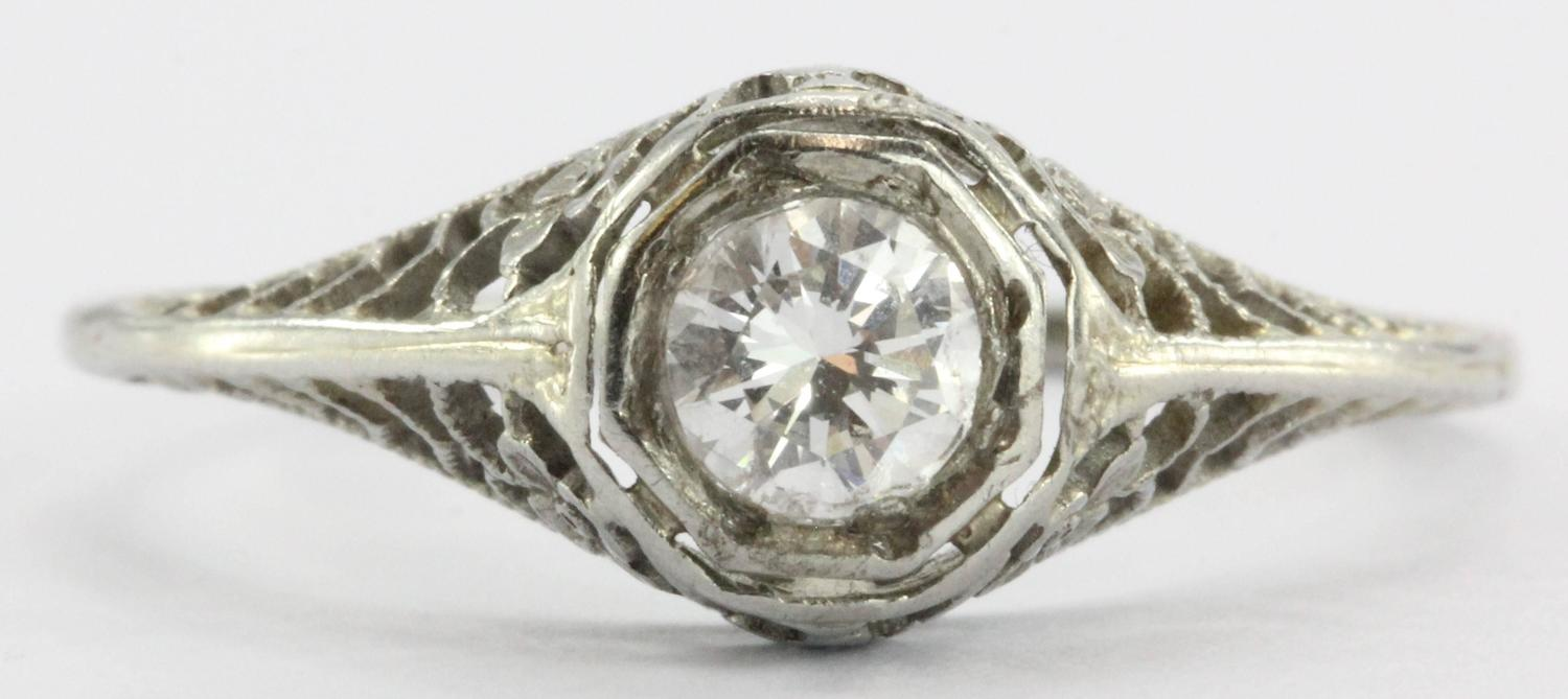 Antique Art Nouveau 18K White Gold Diamond Engagement Ring at 1stdibs