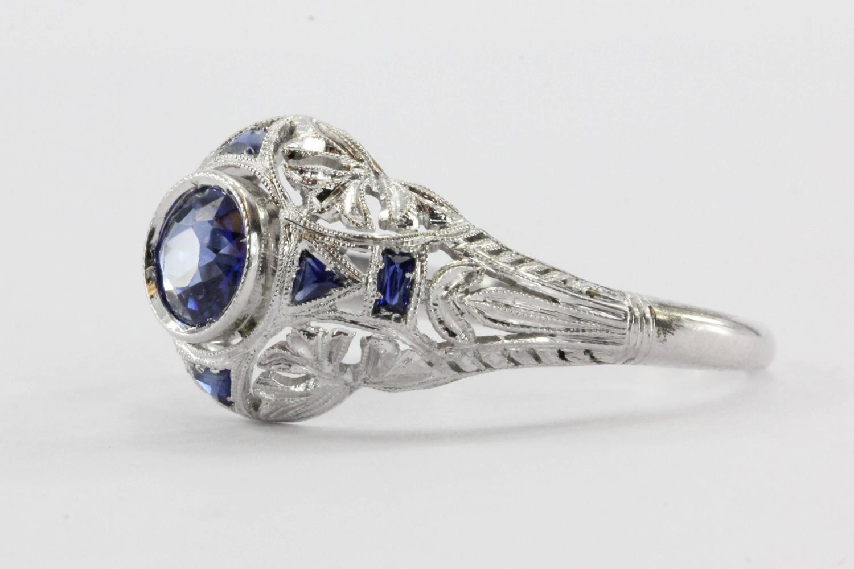 antique deco platinum sapphire ring at 1stdibs