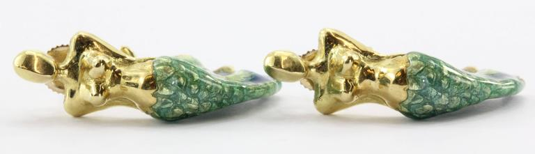 Custom Blue & Green Enamel Gold Figural Mermaid Earrings 4