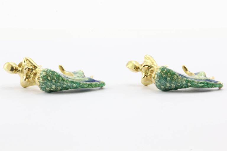 Custom Blue & Green Enamel Gold Figural Mermaid Earrings For Sale 1