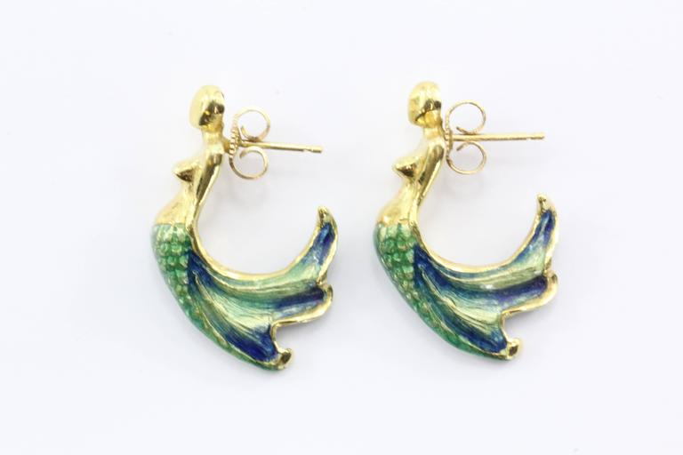 Custom Blue & Green Enamel Gold Figural Mermaid Earrings 7