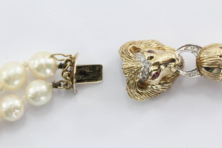 Antique 14k Gold Diamond Ruby Lion Head Double Strand