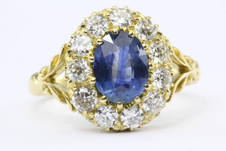 English Natural Burma Sapphire Old European Cut Diamond Ring AGL Certified 3