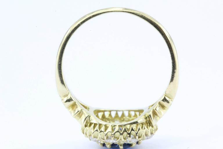 English Natural Burma Sapphire Old European Cut Diamond Ring AGL Certified 4
