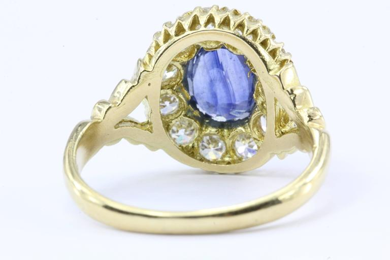 English Natural Burma Sapphire Old European Cut Diamond Ring AGL Certified 5