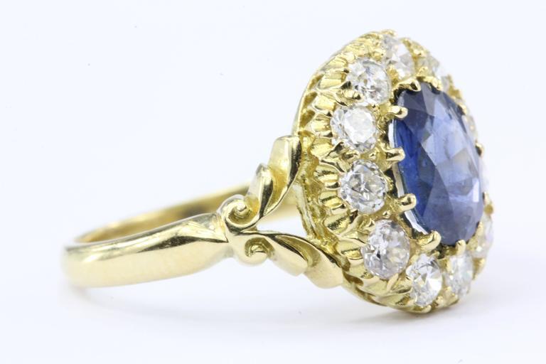 English Natural Burma Sapphire Old European Cut Diamond Ring AGL Certified 6